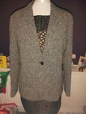 MaxMara Weekend Blazer Suit Jacket Grey Wool Mix Size 16 Made in Italy.