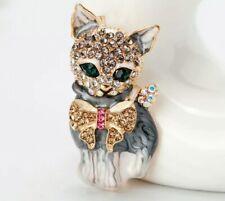 CRYSTAL BROOCH Cat cute cat BROOCH WEDDING BIRTHDAY Christmas mum nanna 969