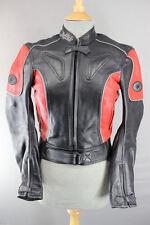 CLASSIC BUFFALO BLACK & RED LEATHER BIKER JACKET UK SIZE 8/EUROPEAN SIZE 34