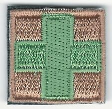 """1"""" x 1"""" Green on Tan Medic Red Cross Paramedic Hook side Fastener Patch"""