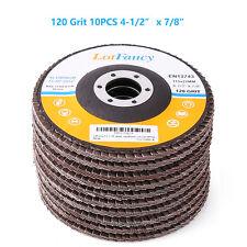 "10PCS 4-1/2"" 120 Grit Flap Sanding Grinding Discs 4.5"" 7/8"" Angle Grinder Wheels"