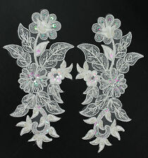 Handmade Venise Lace Sequins Applique Trim Motif  M White #13