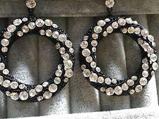 Earrings hoops big black fashionable circles filigree crystals stunning free del