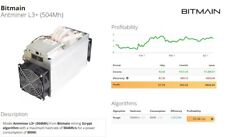 Antminer L3+ with orginal Netzteil/PSU Apw3++ / Miner 504 Mh/s