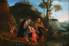 17th CENTURY FRENCH OLD MASTER OIL ON CANVAS - HOLY FAMILY FLIGHT TO EGYPT