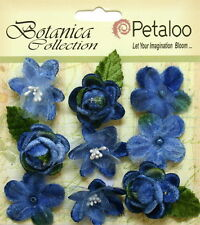 Vintage Velvet Mini Blue X 9 Fabric Flowers 25-30mm Petaloo C