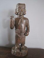 vintage - grande statue en bois signé mico