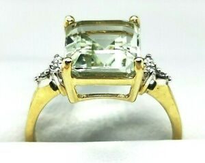 Green Citrine Cocktail / Fashion Ring in 9ct Gold Free Insured shipping #Xx