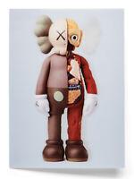 KAWS NGV Lenticular Mini Print / Postcard COMPANION FLAYED Brown Not Stik Banksy