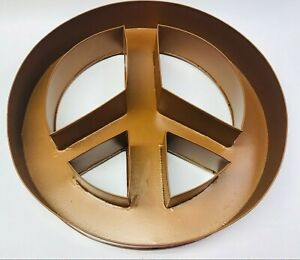 COPPER PAINTED METAL PEACE SIGN SYMBOL WALL HOME DECOR HIPPIE GROOVY INSIDE/OUT