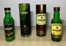 Glenfiddich 12 Jahre und Jameson 12 Jahre Whiskey | Flasche Dose je 4cl | leer