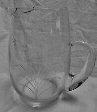 """Clear Glass Hand Blown Pitcher Etched Wheat 80 oz 2.5 qt. 8.75"""" Tall"""