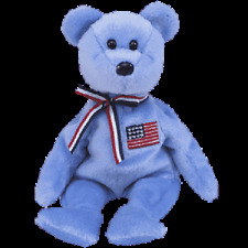 TY BEANIE BABIES  AMERICA (BLUE)  BEAR. PACK OF 6 MINT WITH MINT TAGS