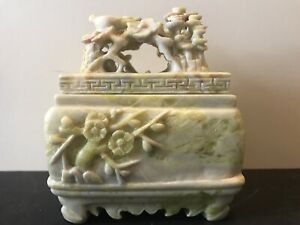 Chinese Fine Carved Trinket Keepsake Box Granite/Marble Stone Birds Floral
