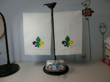 """Embroidered guest towels """"Mardigras"""" vintage linen Set Of Two"""