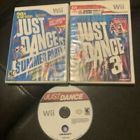 3 Bundle Lot of Nintendo Wii Just Dance Video Games (1, 3 & Summer Party)
