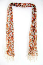ROMANTIC LOOK LIGHTWEIGHT SUMMER CHIC LIGHT BROWN SCARF FLORAL PRINT (MS20)