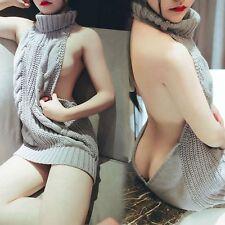 Women Backless Sleeveles Virgin Killer Pullover Sweater Turtleneck*Knit Sexy HOT