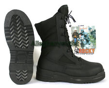 ROCKY US Military COMBAT BOOTS Fire Resistant Safety STEEL TOE Black 6.5R NIB