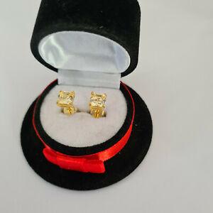 Asccher cut Citrine stud earrings in 14k gold over Sterling Silver