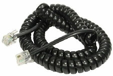 2M BLACK RJ10 Telephone Cable BT Phone Handset Coiled Cord Spiral Wire