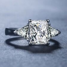 3 Stone Trendy 2.98 Ct Next White Moissanite 925 Sterling Silver Engagement Ring