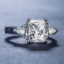 Certified 3CT White Princess & Trillion Cut Diamond Engagement Ring 14K Gold