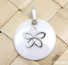 PLATA 925 rodio HAWÁI Plumeria Flor Cerámica Blanca círculo colgante redondo