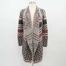 Lucky Brand Cardigan Sweater Jacket Open Front Draped Wool Womens XS NEW Striped