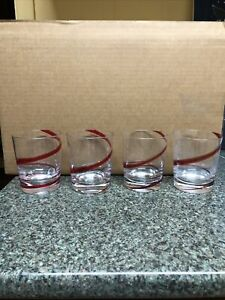 Pier 1 Red Swirl Old Fashioned Highball Glass Set Of 4