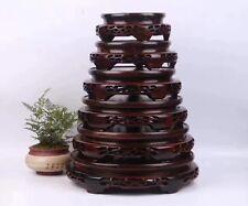 stand display Chinese black hard wood ebony carved 1 set 6PC round wooden base