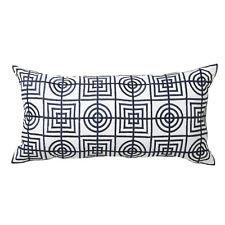 Florence Broadhurst Circles & Squares Navy Long Filled Cushion