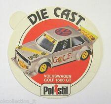ADESIVO anni '80 / Old Sticker AUTO POLISTIL VOLKSWAGEN GOLF 1600 GT (cm 9)