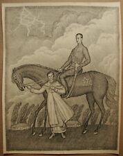 Russian Ukrainian Soviet Lithograph red army cavalryman horse girl goodbye