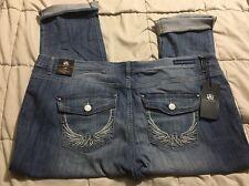 Rock & Republic Cropped Capri Cuffed Jeans Coney Island Winged Sz. 24 Capris NWT