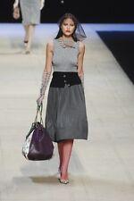 LOUIS VUITTON Runway Silver Metallic & Black Cashmere Vest Top Size S
