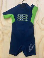 O'NEILL KIDS SIZE 3 BLUE & GREEN BACK ZIP WETSUIT SWIMWEAR SURFING BEACH EUC