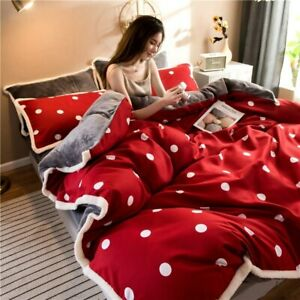 Bedding Set Fleece Flat Sheet Duvet Linens Set Cover Cotton Bed Bedclothes Home