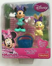 Disney Minnie Mouse Pet Picnic Toy Fisher Price Poseable Figure Play Gift New