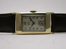 OMEGA 18K YELLOW GOLD VINTAGE MECHANICAL MENS WATCH SILVER DIAL