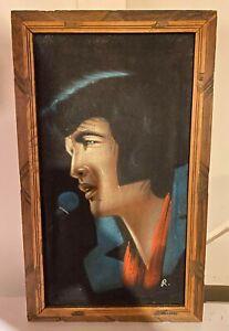 Vintage 1950s Velvet Elvis Presley Painting - Signed R. - Mexico Framed