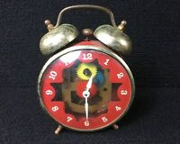 VINTAGE ROBERTSHAW VISIBLE CLOCK GEARS WIND UP ALARM CLOCK LUX TIME DIVISION