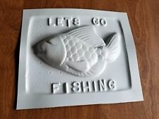 Vintage Lets Go Fishing Candy, Chocolate, Soap or Beeswax Mold.  Honey Bee