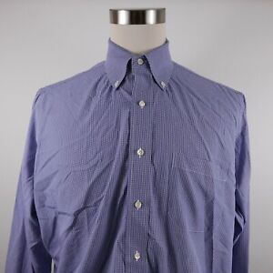 Brooks Brothers Mens Non Iron Traditional Fit LS Button Up Blue Plaid Shirt 16.5