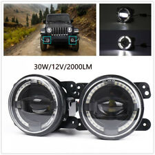 "4"" 12V 30W 2000LM LED Fog Lights White Angel Eyes Halo Ring Lamp Projector Lens"