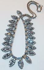 VINTAGE SIGNED WEISS  BLUE RHINESTONE NAVETTES BAGUETTES CHATONS BIB NECKLACE