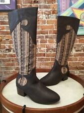 Twiggy London Dark Brown Leather & Western Fabric Riding Boots New