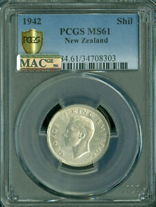 1942 NEW ZEALAND SHILLING PCGS MAC MS61 MAC SPOTLESS RARE IN THIS GRADE *