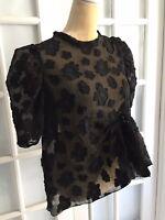 NWT Zara Black ORGANZA BLOUSE WITH PUFF SLEEVES Asymmetric Hem Size S  O1492