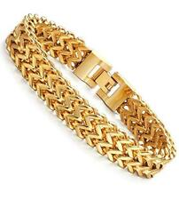 Stainless Steel 2 Rows Curb Wheat Chain Link Bracelets for Men Women Gold Tone
